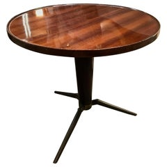 Midcentury Italian Round Coffee/Side Table in Wood and Brass, 1960s