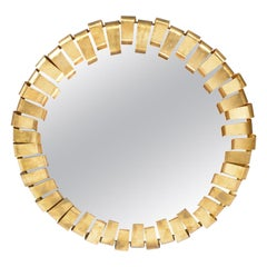 Midcentury Italian Round Golden Metal Framed Mirror