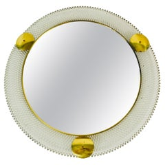 Midcentury Italian Round Metal and Brass Mirror, Italy, 1960s