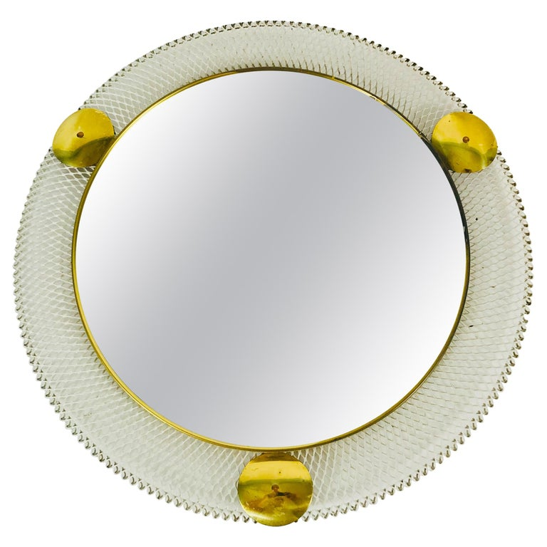 Midcentury Italian Round Metal and Brass Mirror, Italy, 1960s For Sale