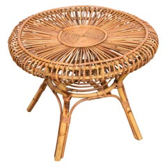 Midcentury Italian Round Rattan and Bamboo Coffee Table, 1960s
