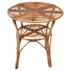 Midcentury Italian Round Rattan and Bamboo Coffee Table with Lower Shelf, 1960s