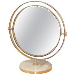 Midcentury Italian Round Table Mirror 1960s Gold Metal