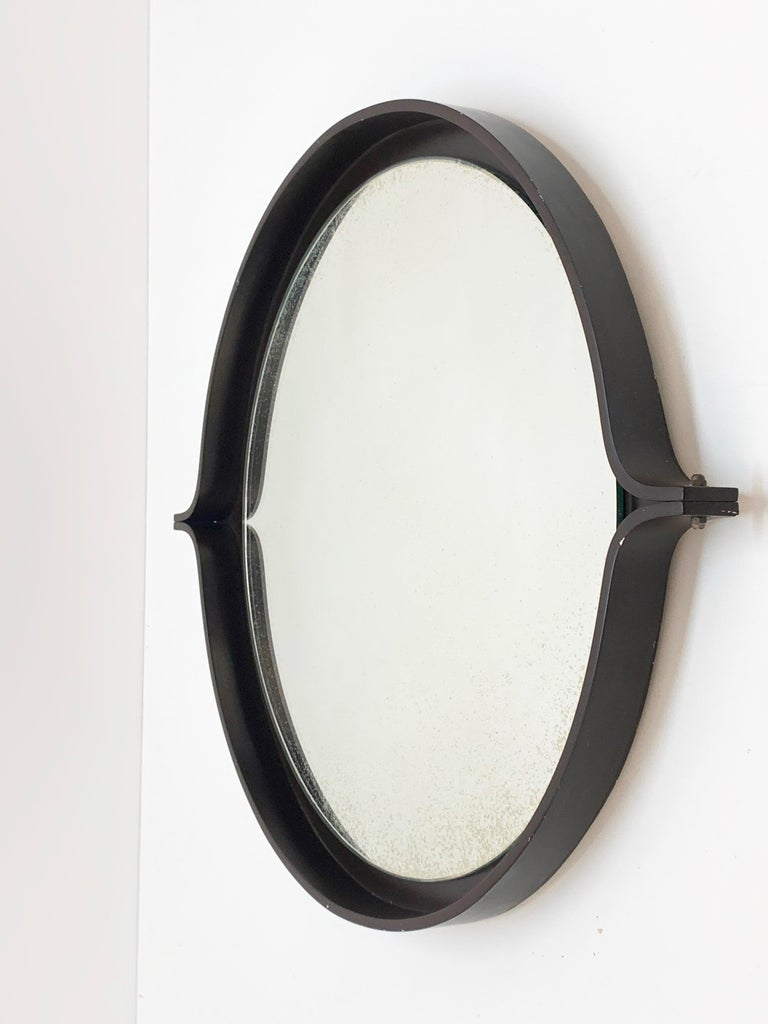 Midcentury Italian Round Wall Mirror with Round Dark Wood Frame, 1960s For Sale 4