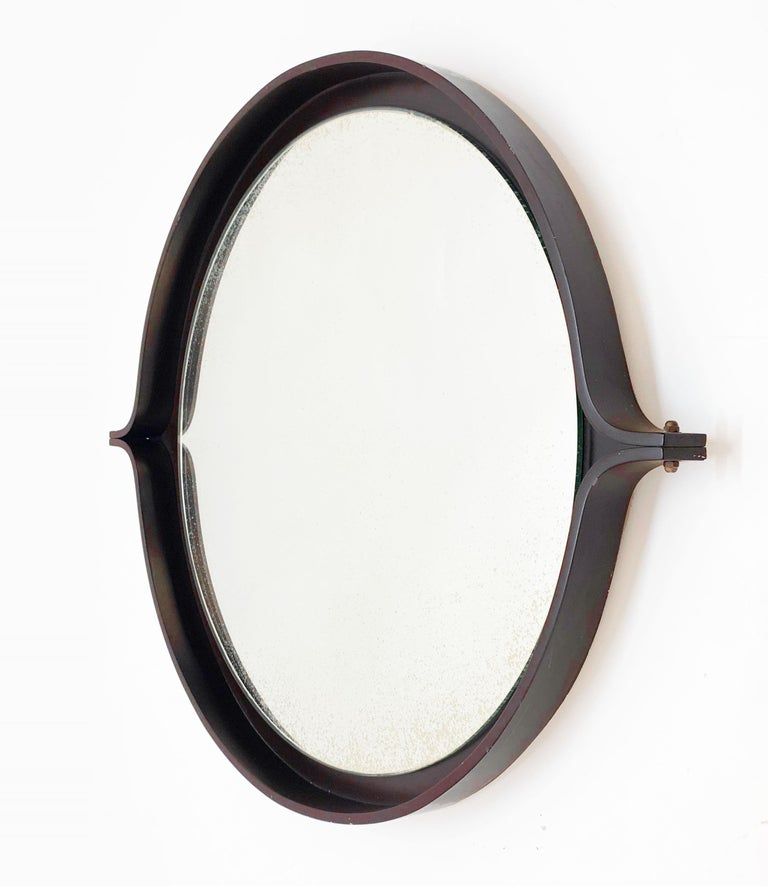 Midcentury Italian Round Wall Mirror with Round Dark Wood Frame, 1960s For Sale 5