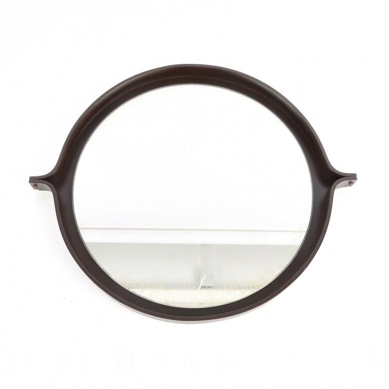 European Midcentury Italian Round Wall Mirror with Round Dark Wood Frame, 1960s For Sale