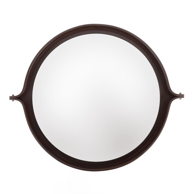 Midcentury Italian Round Wall Mirror with Round Dark Wood Frame, 1960s In Good Condition For Sale In Roma, IT