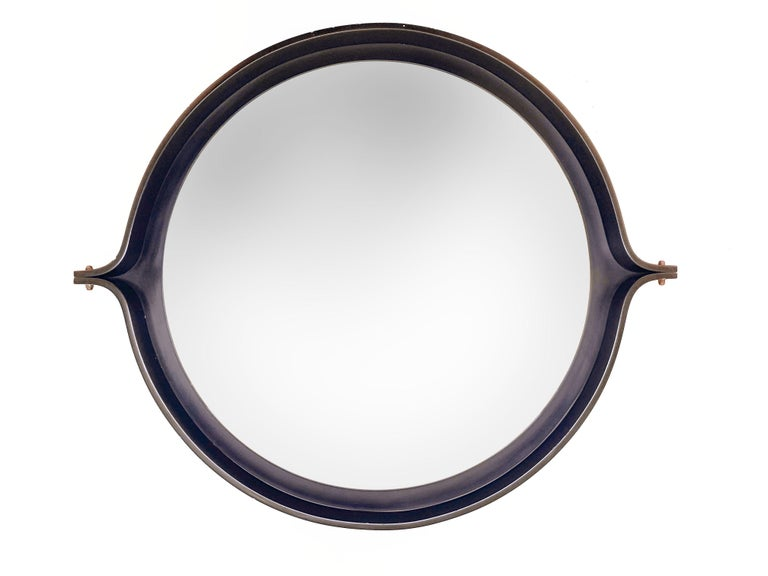 Midcentury Italian Round Wall Mirror with Round Dark Wood Frame, 1960s For Sale 1