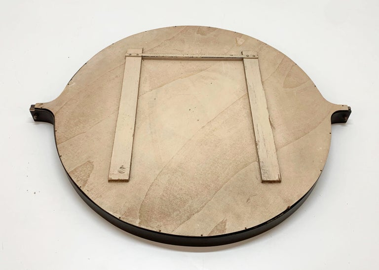 Midcentury Italian Round Wall Mirror with Round Dark Wood Frame, 1960s For Sale 3