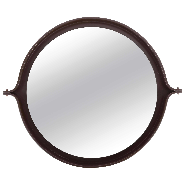 Midcentury Italian Round Wall Mirror with Round Dark Wood Frame, 1960s