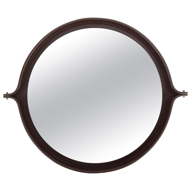 Midcentury Italian Round Wall Mirror with Round Dark Wood Frame, 1960s For Sale