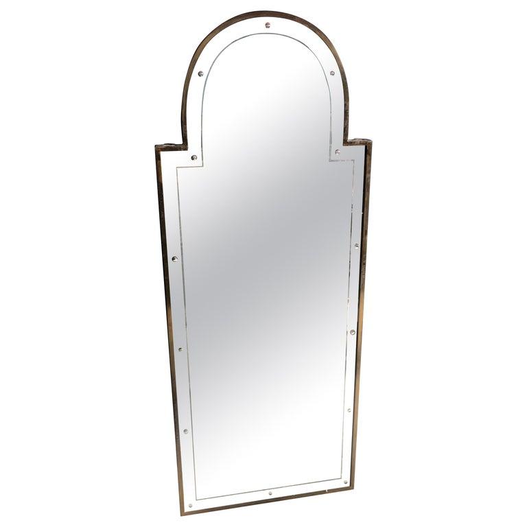 """Midcentury Italian 'Serliana"""" Brass Mirror, 1950s For Sale"""