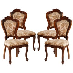 Late 19th C. Italian Four Chairs Louis Philippe Walnut Hand-Carved wax polished