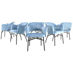 Midcentury Italian Set of Six Dining Chairs in Blue Velvet, 1950