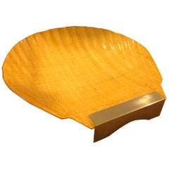 Midcentury Italian Shell Shaped Lacquered Rattan and Brass Platter