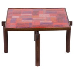 Midcentury Italian Side Table Abstract Enamel Top Wood Frame by Siva Poggibonsi