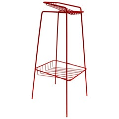 Midcentury Italian Side Table in Red Steel, 1973
