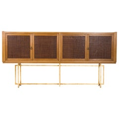 Midcentury Italian Sideboard Oakwood on Gilt Metal Base, Leather Front Doors
