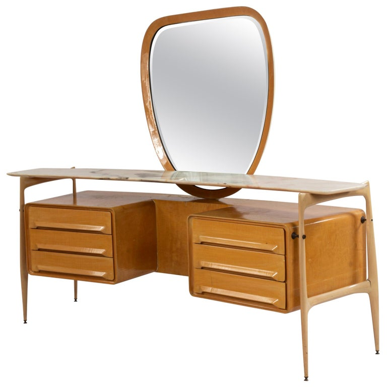 Midcentury Italian Silvio Cavatorta Maple Wood Vanity and Mirror For Sale