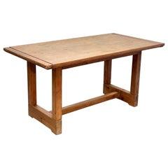Midcentury Italian Solid Pine Wood Dining Room Farm Table, 1950s