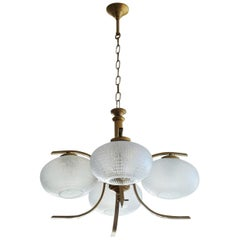 Midcentury Italian Space Age Four-Light Chandelier, Pendant