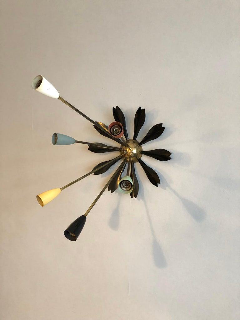 20th Century Midcentury Italian Sputnik Ceiling Light, 1950s For Sale