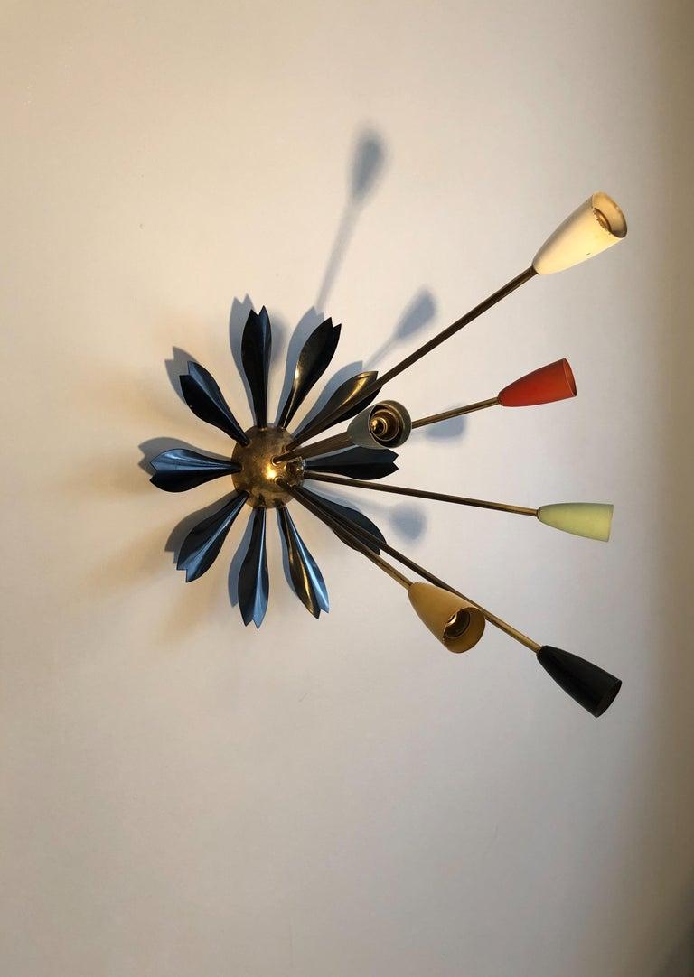Midcentury Italian Sputnik Ceiling Light, 1950s For Sale 7