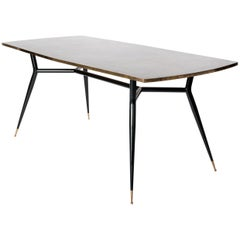 Midcentury Italian Sputnik Legs Dining Room Table, Desk with Bronze Veneer Top