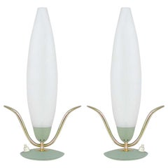 Midcentury Italian Sputnik Mint and Satinated Glass Table Lamps, 1950s, Set of 2