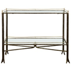 Midcentury Italian Steel and Brass Faux Bois Table with Glass Top and Shelf
