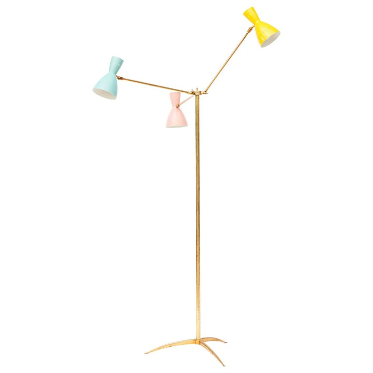 """Midcentury Italian """"Stilnovo"""" Floor Lamp with Colored Shades For Sale"""