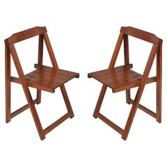 Midcentury Italian Sturdy Folding Chairs by Calligaris, in Solid Beechwood