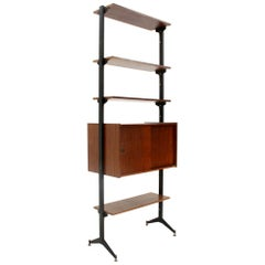 Midcentury Italian Teak and Black Metal Bookcase, 1960s