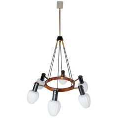 Midcentury Italian Teak and Opaline Glass Chandelier