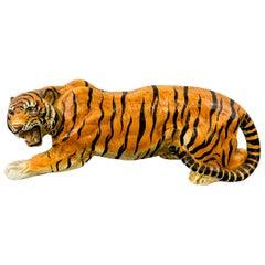 Midcentury Italian Terracotta Tiger Statue or Sculpture