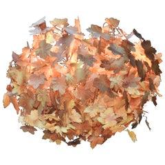 Midcentury Italian Tole Metal Leaf Chandelier