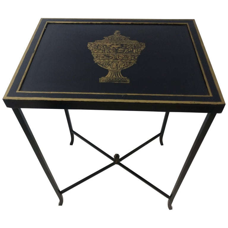 Mid Century Italian Toleware Side Table, circa 1960 For Sale