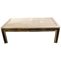 Midcentury Italian Travertine and Brass Coffee Table