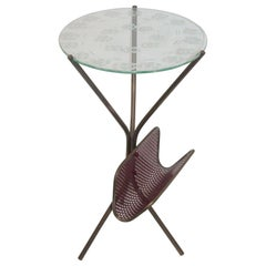 Midcentury Italian Tripod Brass Side Table and Perforated Metal