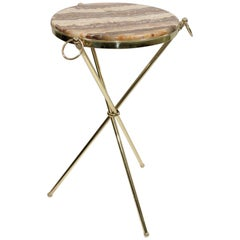 Midcentury Italian Tripod Round Side Table 1950s Brass and Onyx Marble