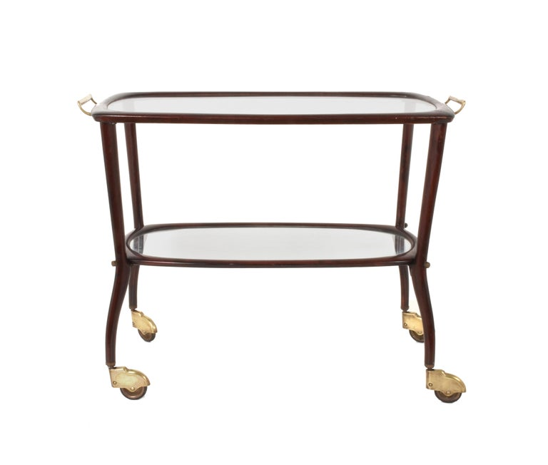 Italian bar cart from the mid-20th century in mahogany Cesare Lacca, Italy, 1950s. Label of the Bologna manufacturer.