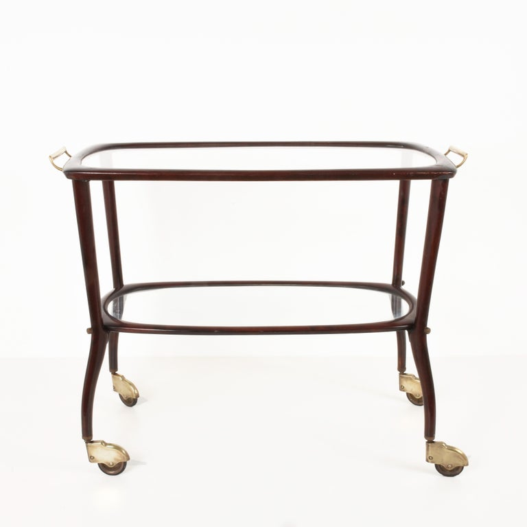 Midcentury Italian Trolley Bar Cart Mahogany Cesare Lacca Bologna Italy, 1950s In Good Condition For Sale In Roma, IT