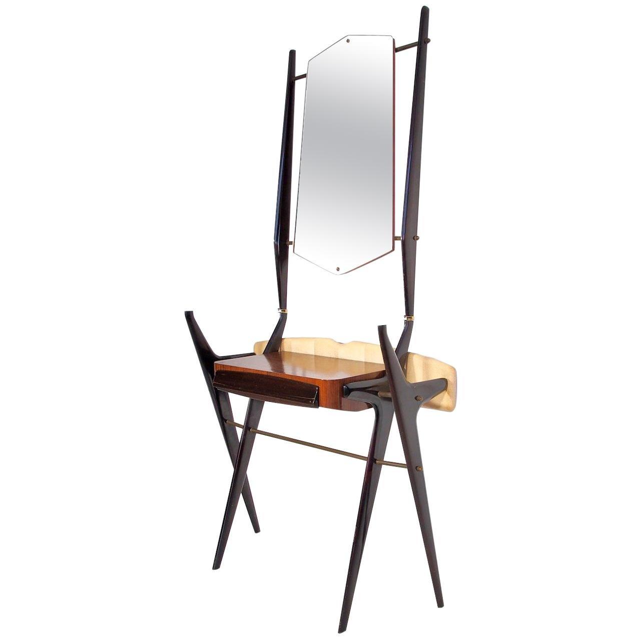 Midcentury Italian Vanity Table with Mirror