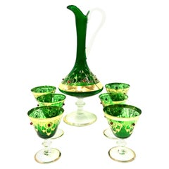 Midcentury Italian Venetian Blown Glass and 22-Karat Gold Drinks Set of 7