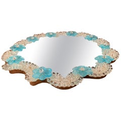 Midcentury Italian Venetian Murano Mirrored Tray Table with Floral Decor