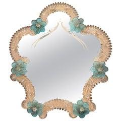 Midcentury Italian Venetian Murano Vanity Table Mirror with Floral Etching