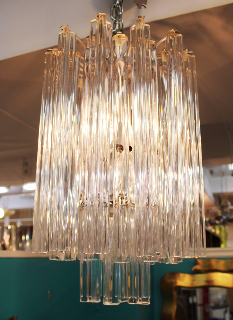 Midcentury Italian Venini Murano Chrome Chandelier with Cut and Round Crystals In Good Condition For Sale In New York, NY