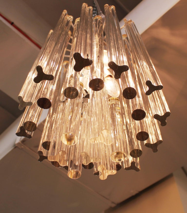 Mid-20th Century Midcentury Italian Venini Murano Chrome Chandelier with Cut and Round Crystals For Sale