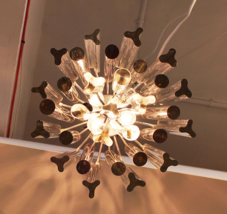 Midcentury Italian Venini Murano Chrome Chandelier with Cut and Round Crystals For Sale 1