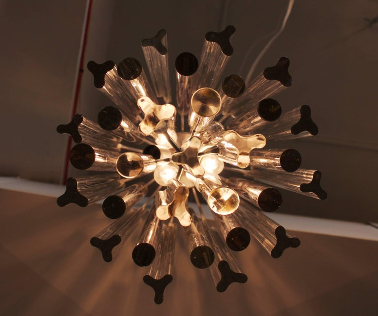 Midcentury Italian Venini Murano Chrome Chandelier with Cut and Round Crystals For Sale 2
